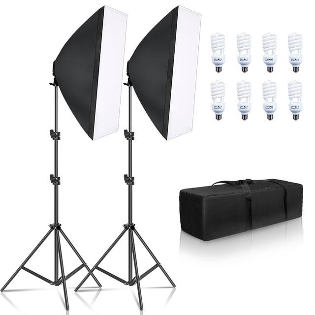 Photography Softbox Lighting Kit 8 PCS E27 45W LED Bulbs Photo Studio Light Equipment Light Box For Youtube Video