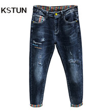 Pantalones vaqueros elásticos para hombre, Jeans rasgados, desgastados, de tela vaquera, ropa de calle informal para motorista