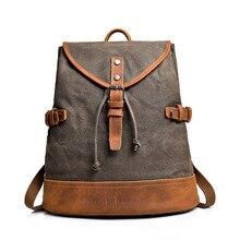 Men's backpack rucksack retro crazy horse leather men's travel canvas bag men's waterproof backpack