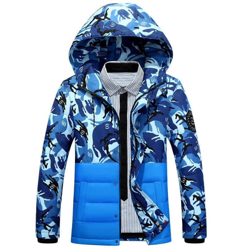 2019 men's new camouflage winter coat/men's fashion casual body trimming patchwork down jacket/Men's hooded coats