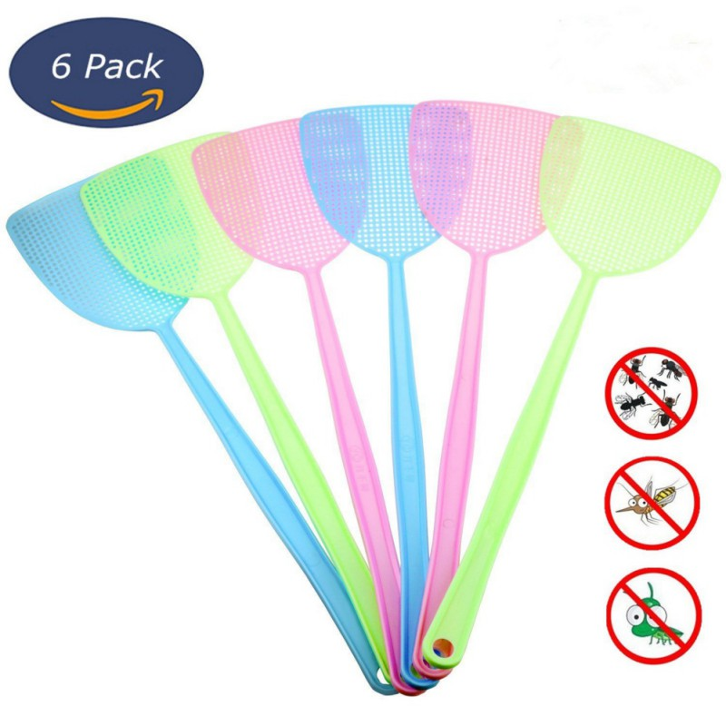 6 Pcs/lot Fly Swatter Three Colors Manual Swat Pest Control Plastic With Long Handle Assorted Sweet Colors High Quality