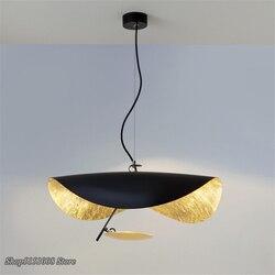 Nordycki styl postmodernistyczny kształt UFO żyrandol włoski Designer Hanglamp salon Lustre złoty Metal restauracji latarnia LED