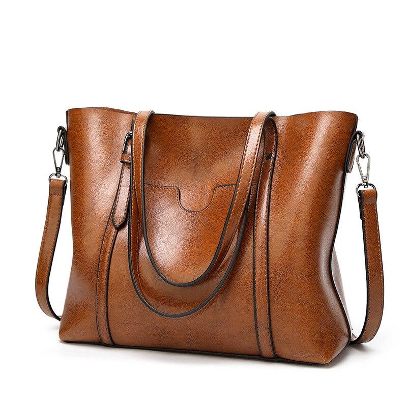 革の女性のハンドバッグオイルワックスバッグ女性ショルダーバッグ高級ブランド女性のメッセンジャークロスボディバッグソフトビッグトートバッグ bolsas WBS209トップハンドルバッグ   -