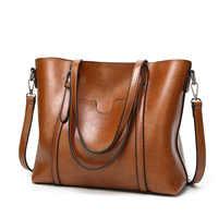 Bolsos de cuero para mujer, bolso de cera al óleo, bolsos de hombro para mujer de marca de lujo, bolso bandolera suave, bolsas grandes WBS209