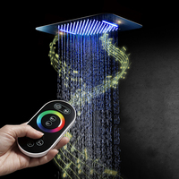 Luxury Colorful LED Shower Head Shower Speaker Ceiling Square SUS304 Chrome Showerhead Bathroom Bluetooth Music Rainfall Shower