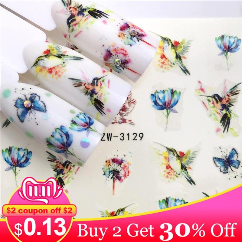 Zko 1 folha adesivos de unhas transferência de água adesivo borboleta/lotus projetos unha arte slider manicure decoração