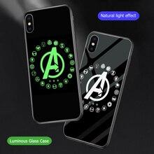 Ciciber Marvel Luminoso Cassa di Vetro per il iPhone caso di 11 7 8 6 6S Plus Della Copertura delle coperture per il iPhone 11 pro Max XR X XS Max Coque Iron Man