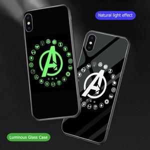 Image 1 - Ciciber Marvel чехол в виде светящегося стекла для iPhone 11 Чехол 7 8 6 6S Plus чехол для iPhone 11 Pro Max XR X XS Max Coque Iron Man