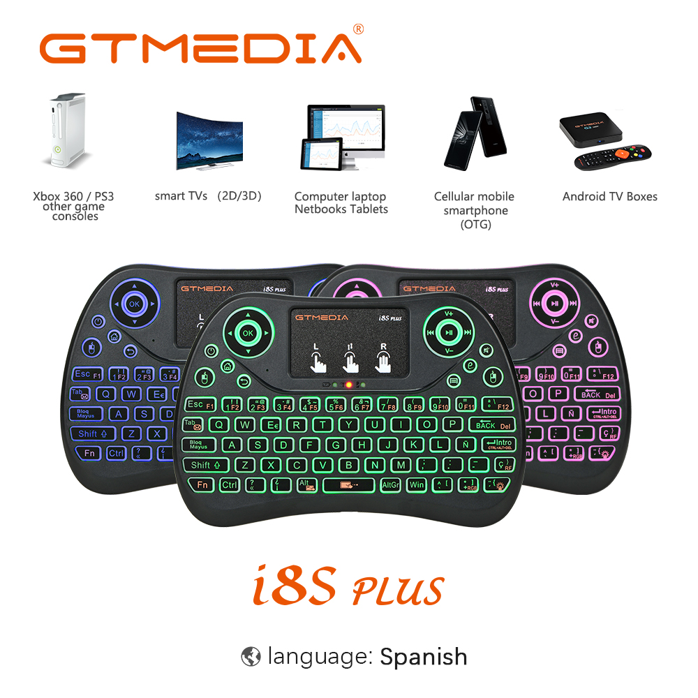 GTMEDIA I8 Spainish Version 2.4GHz Wireless Keyboard Air Mouse With Touchpad Handheld Work With Android TV BOX Mini PC 18 Spain