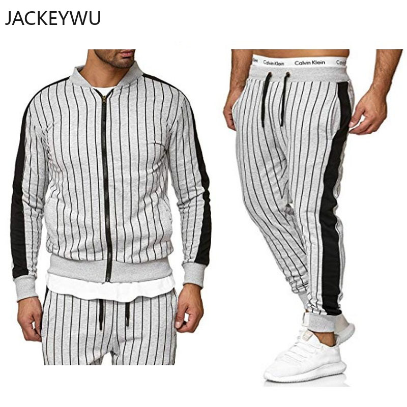 Brand Tracksuit For Men 2 Pieces Set 2019 Autumn Korean Fashion Striped Baseball Collar Sweatshirt And Joggers Pants Hip Hop