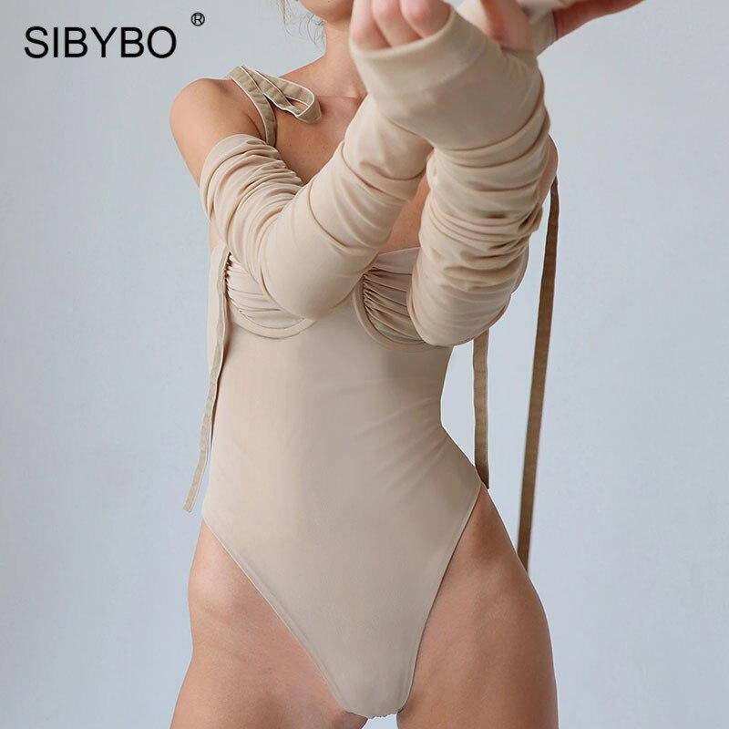 SIBYBO Spaghetti Strap Mesh Sexy Bodysuit Women Off Shoulder Skinny Summer Women Rompers Backless Beach Wear Women Bodysuit Tops