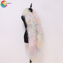 10Layers 2meters Hight Quality Ostrich Boa Fashion Show Shawl Fluffy Thickness boa Trims For Wedding Party Scarf Decoration