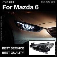 AKD Car Styling for Mazda 6 Atenza LED Headlight 2013 2017 New Mazda6 LED DRL Hid Head Lamp Angel Eye Bi Xenon Accessories