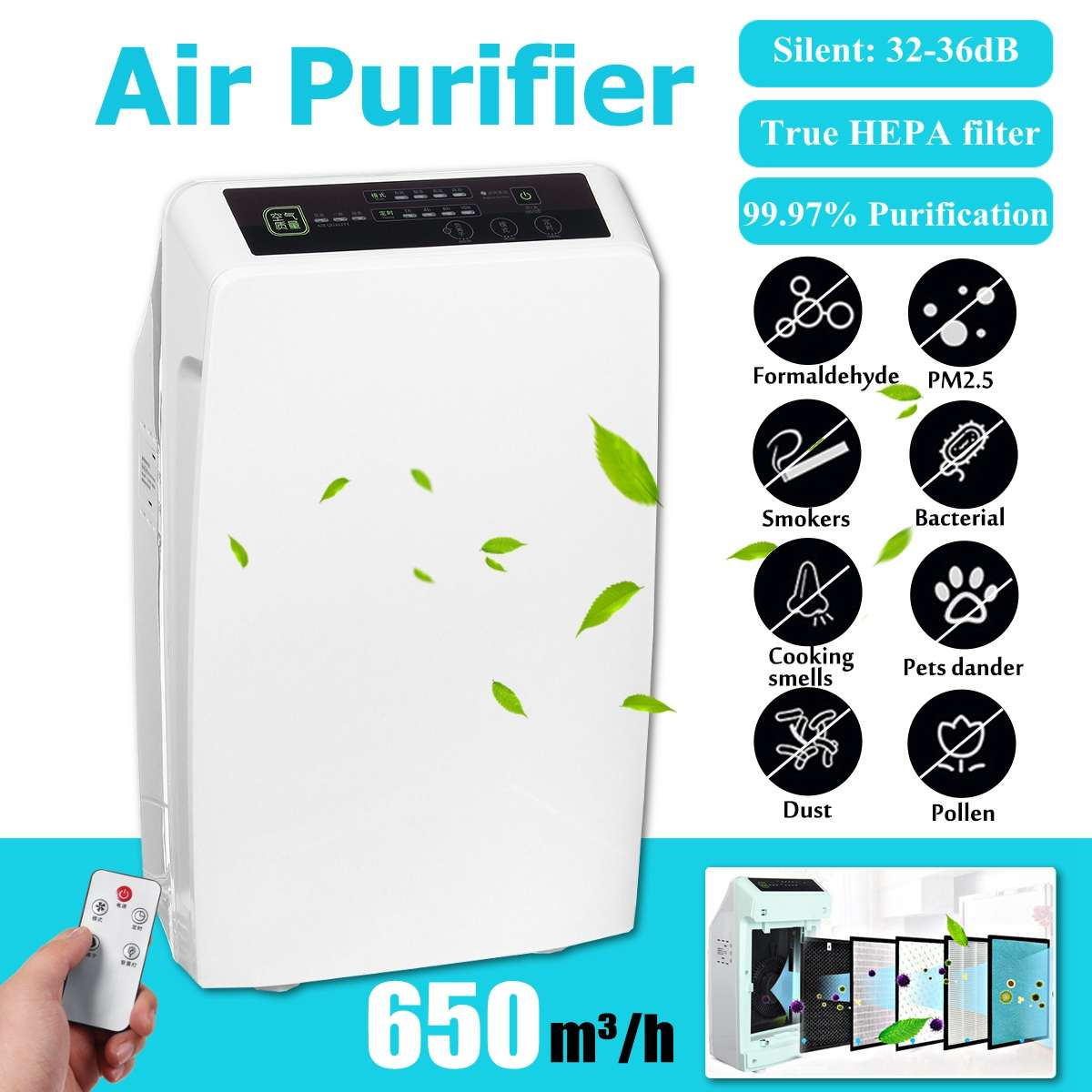 220V European Standard Air Purifier Home Intelligent Negative Ion Pm2.5 In Addition To Formaldehyde Fog Room Air Purifier