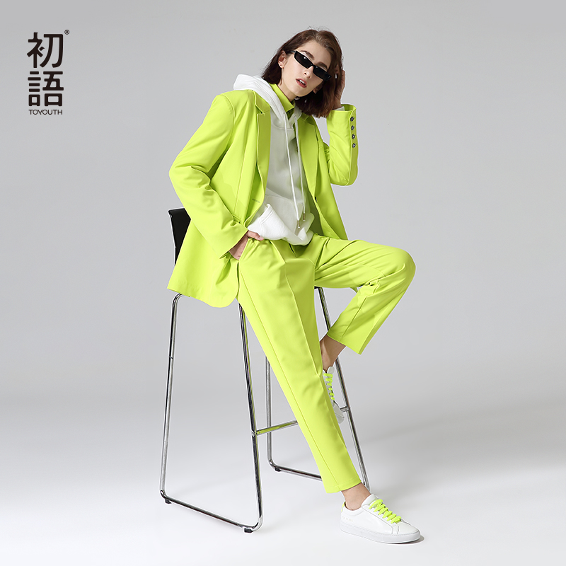 Toyouth Office Lady Autumn Solid Suits Turn Down Collar Single Breasted Blazers With Pants Women Sets