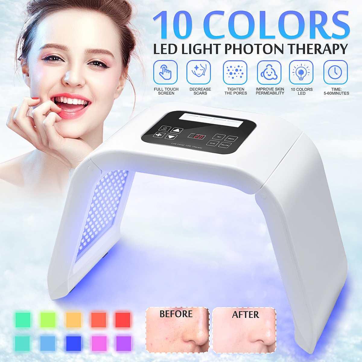NEW Professional Photon PDT Led Light Facial Mask Machin 10 Colors Facial Skin Rejuvenation Light Therapy PDT Beauty Machine