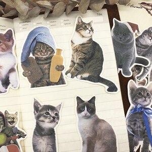 15 unidades/pacote Diário Do Vintage Bonito Do Gato Gatinho Etiqueta DIY Craft Scrapbooking Álbum Junk Planejador Diário Adesivos Decorativos