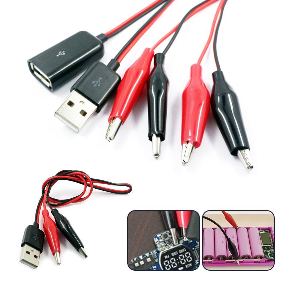 USB Crocodile wire Alligator clips Male of Female to USB tester Voltage MeteQ9WP