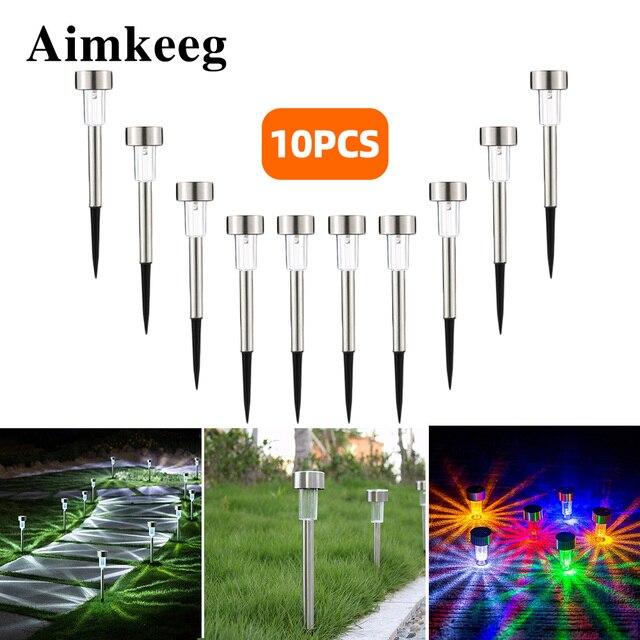 10 개/몫 스테인레스 스틸 LED 솔 라 잔디 빛 야외 태양 전원 Decking 빛 IP65 방수 미니 태양 정원 빛