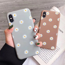 (Quente-4 cores) simples crisântemo floral silicone caso de telefone para iphone 7 8 6s plus 5 x xr xs 11 pro max capa traseira flores