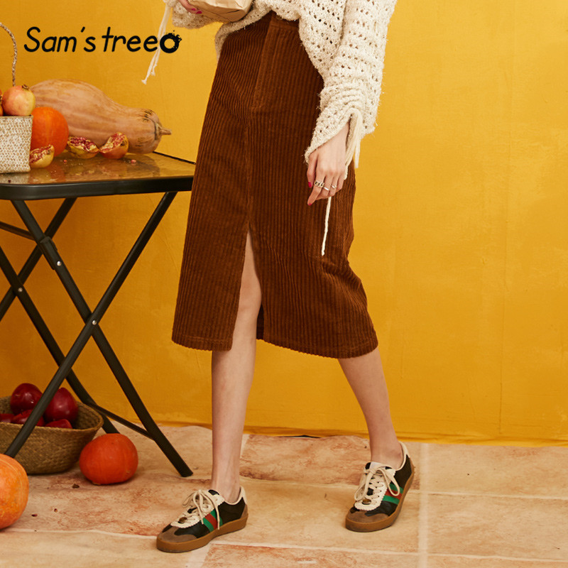 SAM'S TREE Solid Split Front Minimalist Corduroy Skirt Women 2019 Autumn Pure Vintage Office Ladies Midi Skirts