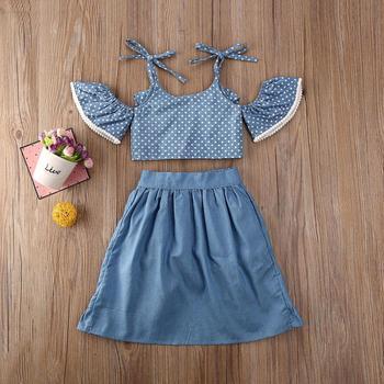 Humor Bear Girls Sets Summer Toddler Baby Kid Girl Clothes Summer Polka Dots Off Shoulder Tops+Ruffle Skirts+Shorts 3Pcs