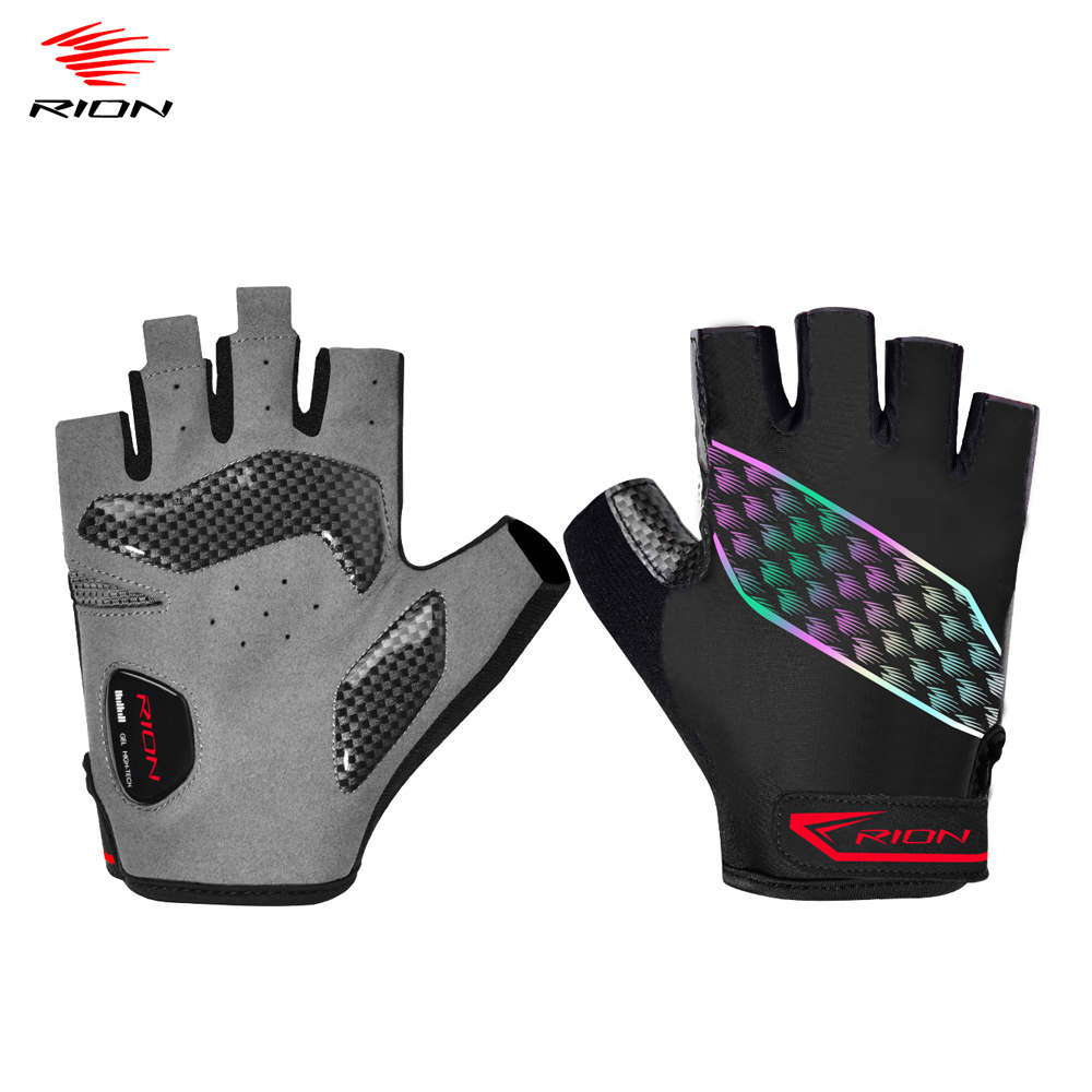 Мужские Нескользящие перчатки RION, дышащие ударопрочные спортивные митенки на полпальца, защита от пота, для велоспорта