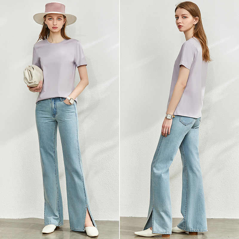 AMII מינימליזם אביב קיץ מוצק בסיסי נשים Tshirt סיבתי אופנה Oneck קצר שרוול רופף נשי חולצת טי חולצות 12060035