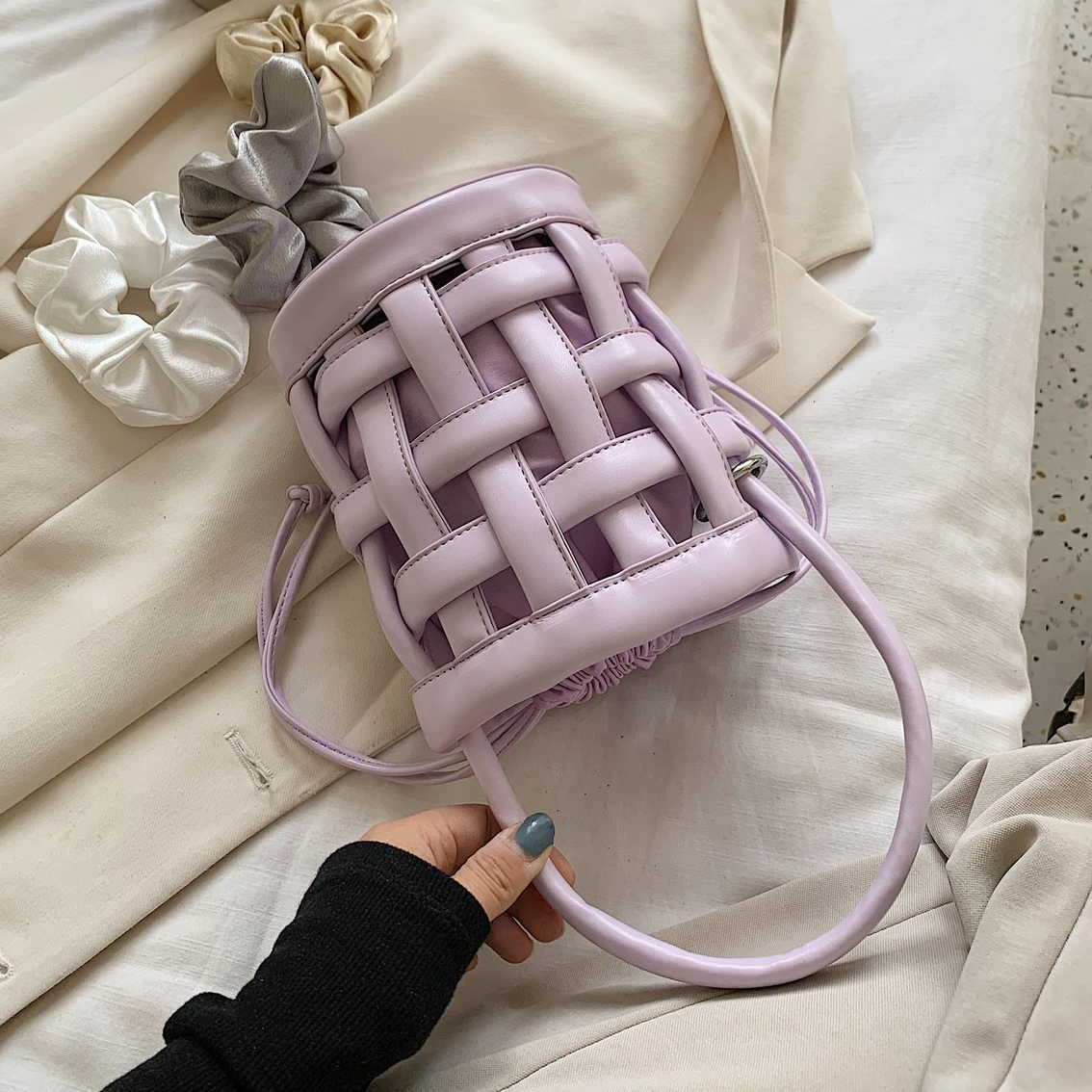 Cutout Waffle Small PU Leather Bucket Bags Crossbody Bags For Women 2020 Solid Color Shoulder Handbags Female Cross Body Bag