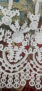Image 4 - Branco Mais Recente Nigeriano Laço de Tule 2020 Tull Tecido de Renda Líquida Francês Para O Casamento Nigeriano Africano Bordado Tecido de Renda L G006