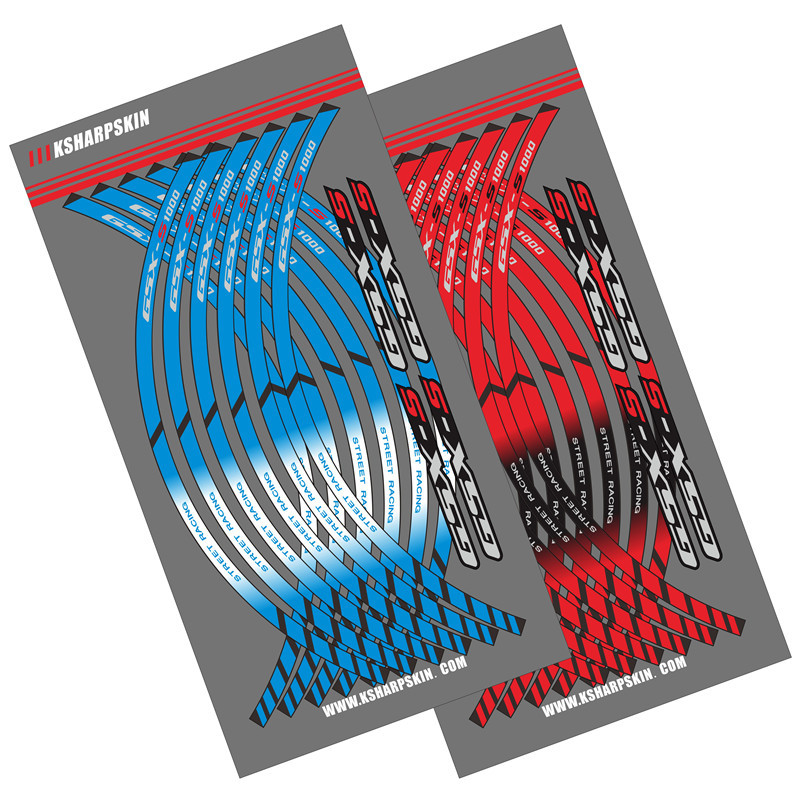 12 X Motorcycle outer ring sticker stripe wheel accessories decorative reflective decals for <font><b>SUZUKI</b></font> GSX-S 1000 750 <font><b>gsxs125</b></font> image