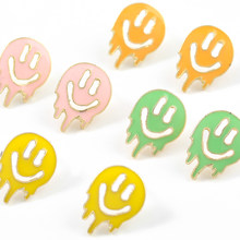 Fashion Metal Ghost Smiley Expression Earrings Women's Creative Popular Stud Earrings Banquet Jewelry Accessories