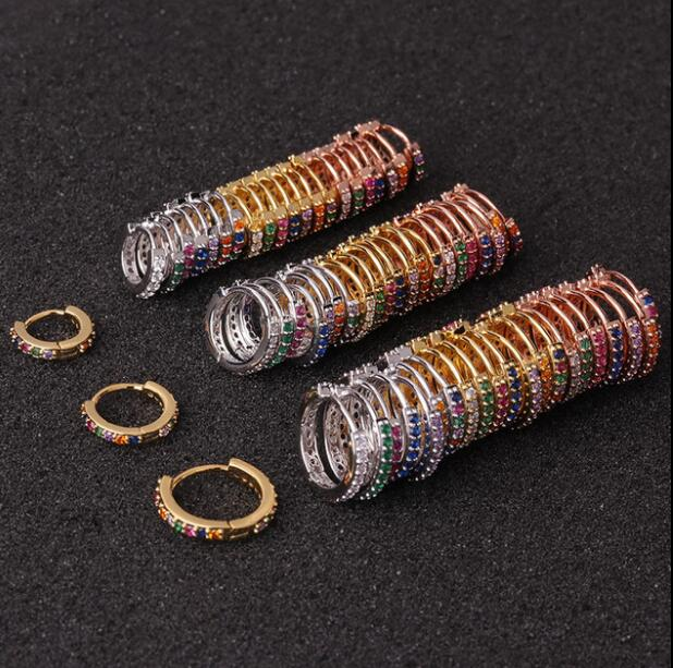 1pc 6mm/8mm/10mm Multicolor Cz Huggie Hoop Cartilage Earring Helix Tragus Daith Conch Rook Snug Ear Piercing Jewelry
