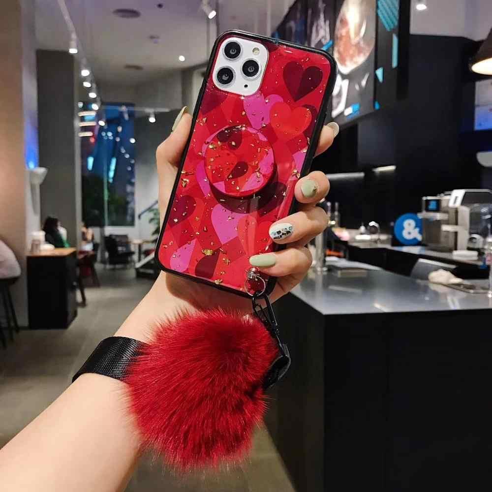 Dành Cho Samsung Note10plus S8 S9 S10 Plus Note9 Note8 Bao Trường Hợp Cao Cấp Kim Cương + Tặng Tóc Lông + Tặng Dây chân Đế Điện Thoại Ốp Lưng