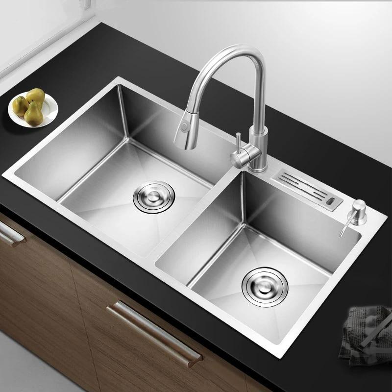 Keuken Benodigdheden Duitsland Rvs Spoelbak Dubbele Wastafel 304 Aanrecht Thuis Sink Sink Sink Sink Wf921415 Kitchen Sinks Aliexpress