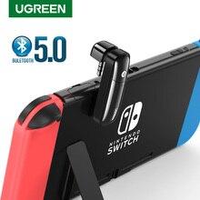 Ugreen bluetooth 5.0 transmissor para nintendo switch lite 3.5 jack 3.5mm adaptador de áudio bt sem fio bluetooth fones de ouvido modo tv
