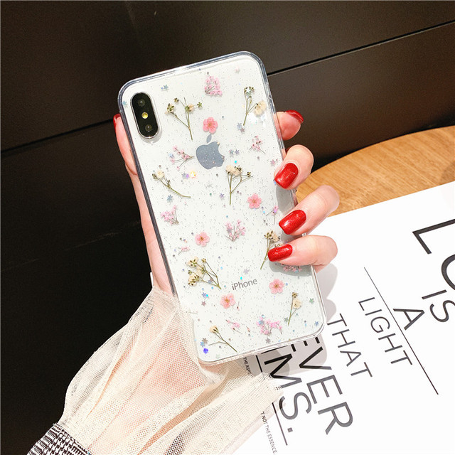 Real Dry Flower Glitter Clear Case For iPhone 8 7 Plus 6 6s Epoxy Star Transparent Case For iPhone X XR 11 Pro XS MAX Soft Cover 2