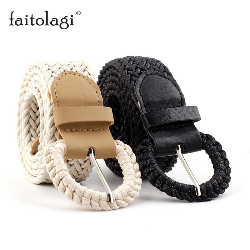 Wax Rope Knit Female Waist Belts Wild Pin Buckle Decorative Women Belts Black Khaki Wide Girls Student Belts Ceinture Femme