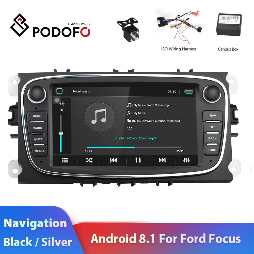 Podofo 2 din Android 8.1 7HD Car Radio Autoradio Multimedia Player GPS Navi WIFI MP5 2DIN Auto audio Car Stereo for Ford Focus image