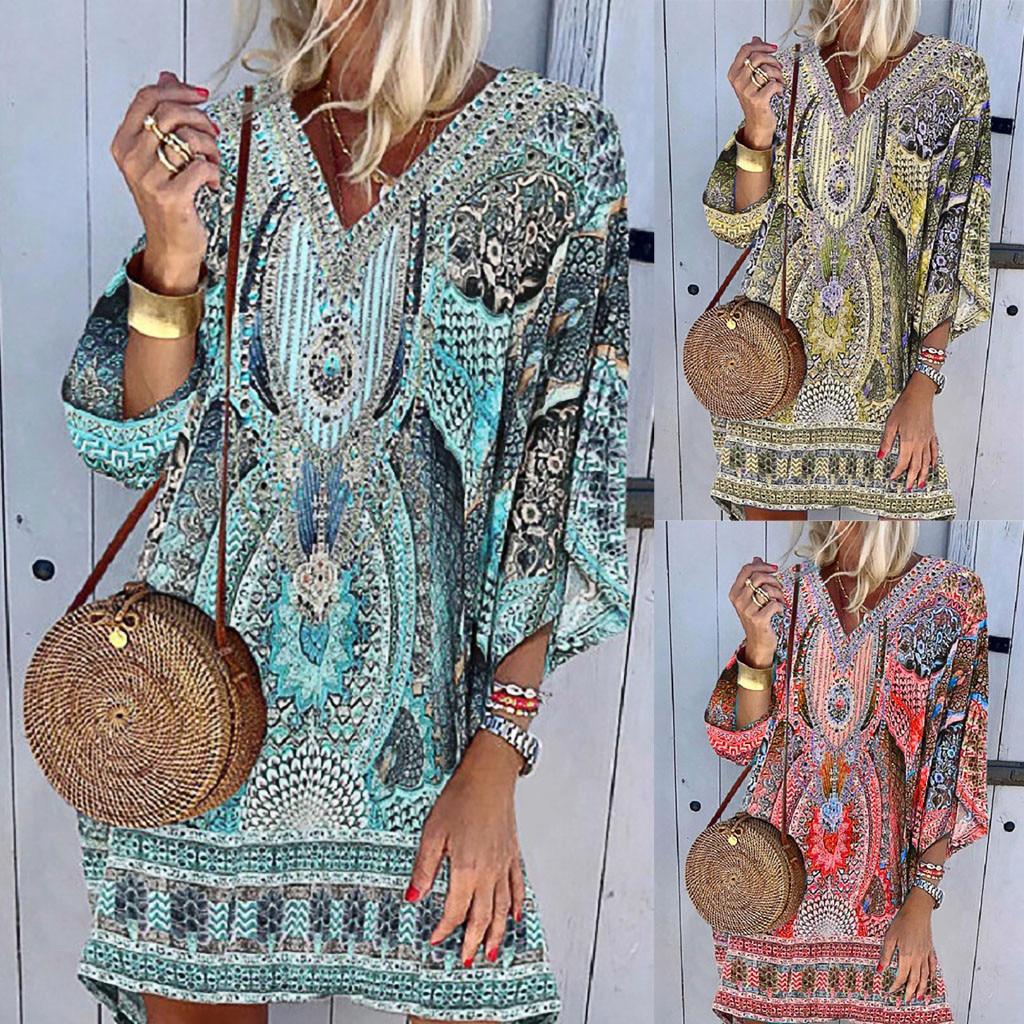 vestido de mujer Women V neck Beach Printing Leisure Time On Vacation Long Sleeves Dress femme