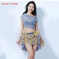 Bellydance Dancewear Skirt 2 Piece Sexy Women Oriental Cheap Short Sleeve Top+Short Skirt 2pcs Free Delivery