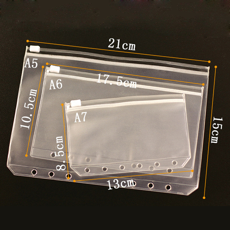 A7 A6 A5 Transparent Loose Leaf Binder Notebook Inner Accessory Dokibook Card Holder Bag Storage Pocket Passport Notebook