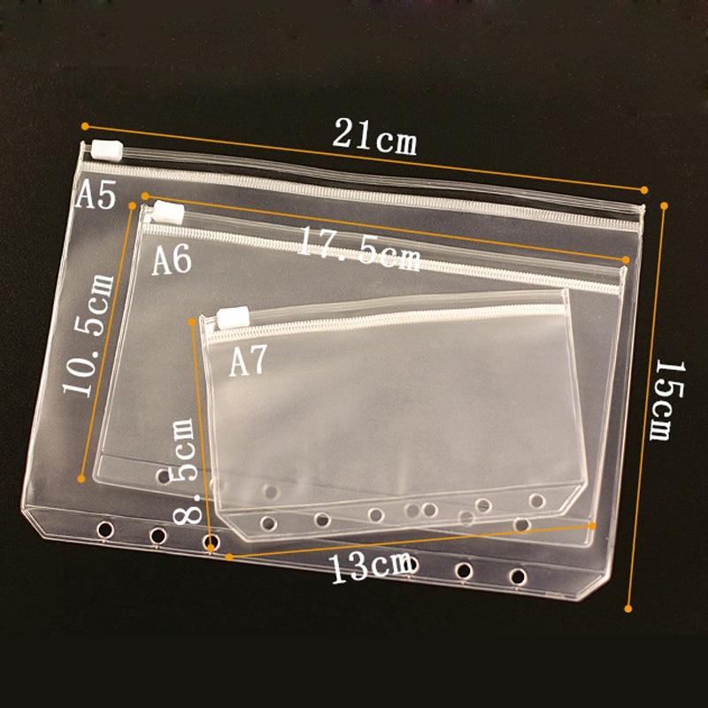 A7 A6 A5 Transparent Loose Leaf Binder Notebook Inner Accessory Dokibook Card Holder Bag Storage Pocket Passport Notebook