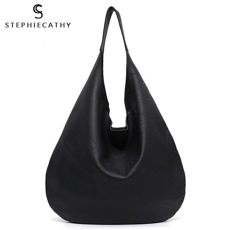 SC Large Italian Leather Hobo Bags Women Soft Genuine Cow Leather Ladies Handbag Female Casual Slouchy Shopping Bucket Tote Bag