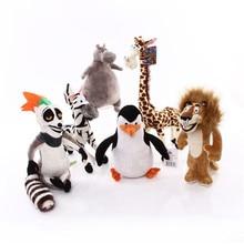 6 Styles Madagascar Plush Toys Cartoon Figure Lion Giraffe Penguin Zebra Hippo Dolls Cute Gift for Children Kids