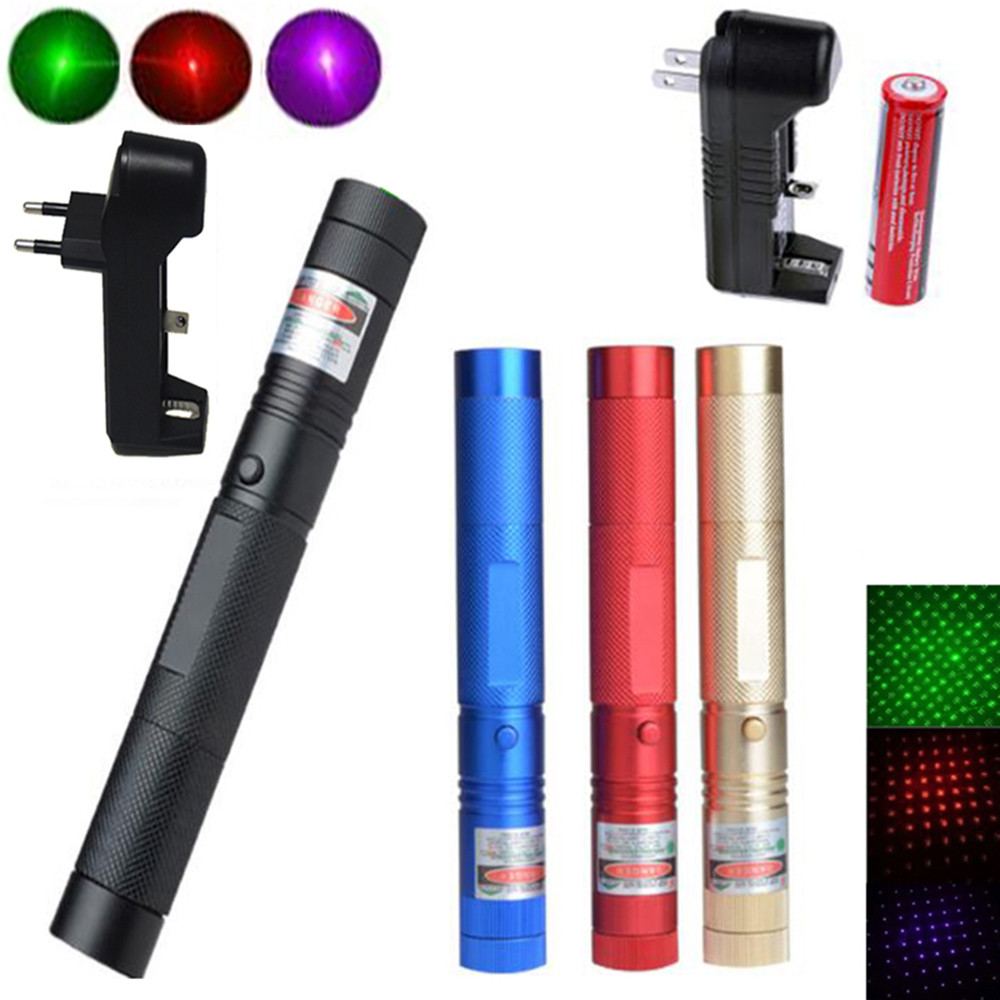 10000m Powerful Red Laser Pointer Green Laser 303 Blue Lazer Pointer Pen Focus Adjustable Hunting Laser Sight With 18650 Battery