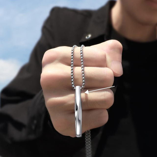 2021 Fashion New Black Rectangle Pendant Necklace Men Trendy Simple Stainless Steel Chain Men Necklace Jewelry Gift 2