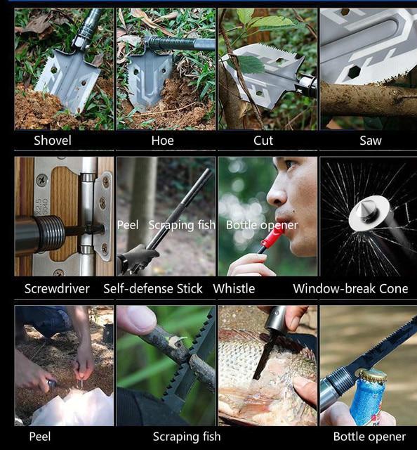 The ultimate survival tool tactical shovel 23-in-1 multi-purpose folding shovel portable