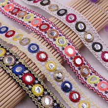 1Yards/Lot Mirror Ethnic Beaded Lace Trim Vintage Embroidered Lace Ribbon African Lace Fabric DIY Handmade Costume Dress Sewing