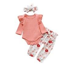Floral Newborn Clothes Baby Girl Set 3Pcs Soft Bodysuit+Long Pant+Headband 0-2Year Long Sleeve Toddler Clothing D20